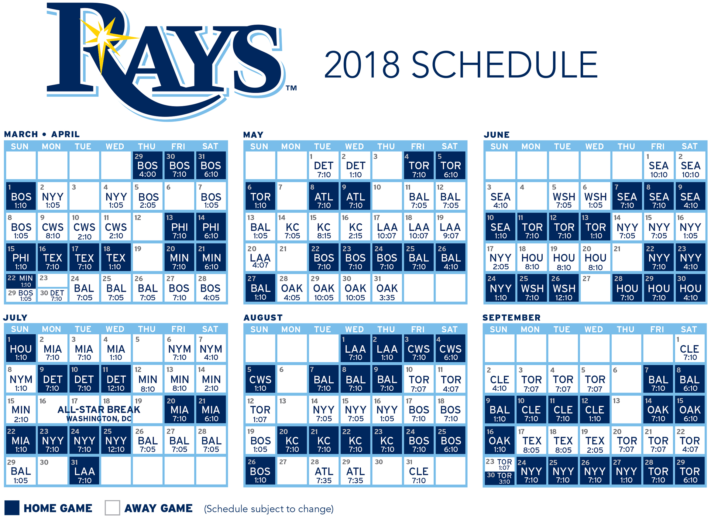Download the 2018 Tampa Bay Rays Schedule