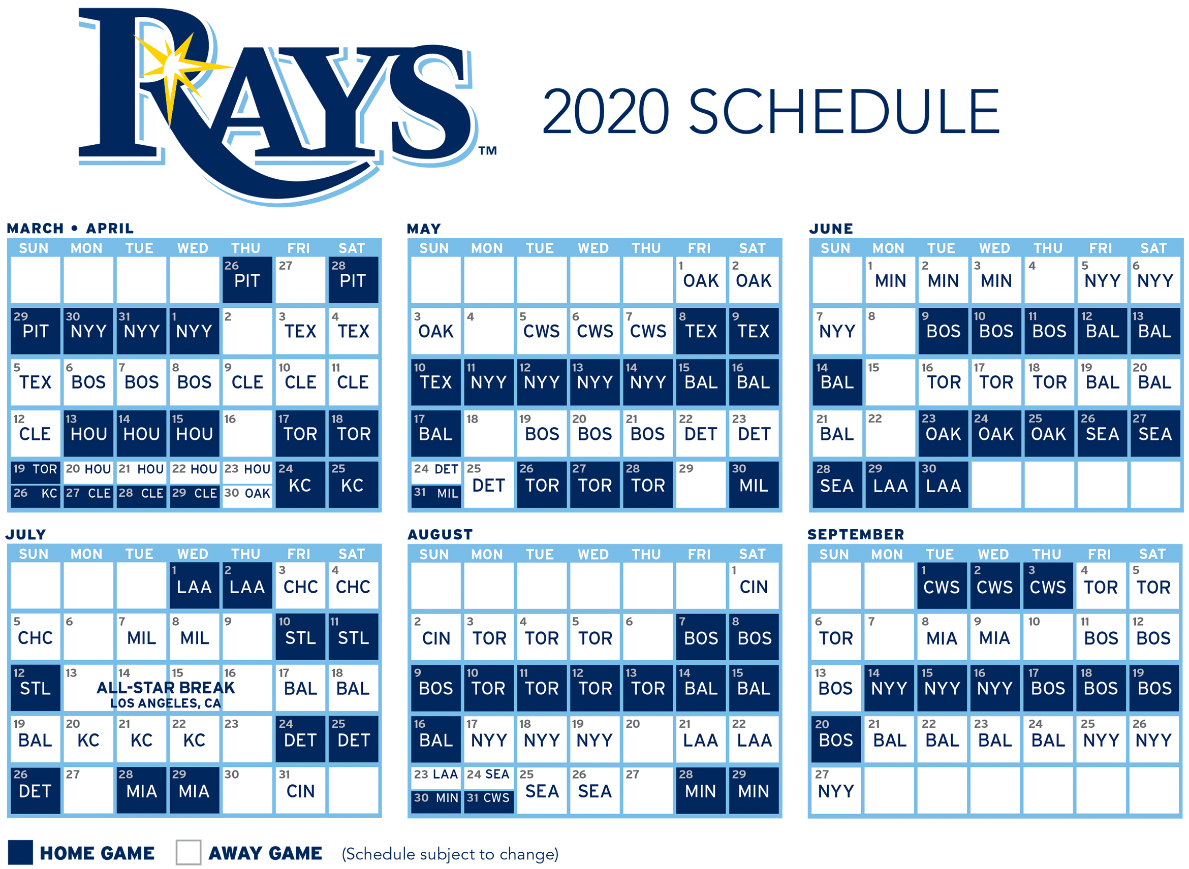 Download the 20209 Tampa Bay Rays Schedule