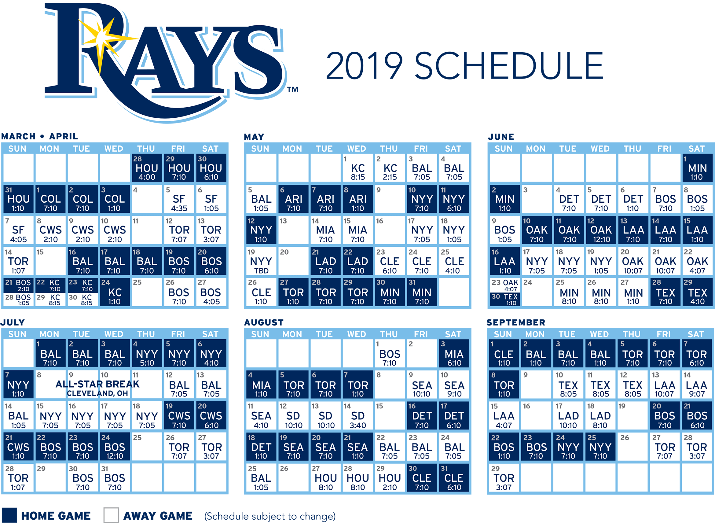 Download the 2019 Tampa Bay Rays Schedule