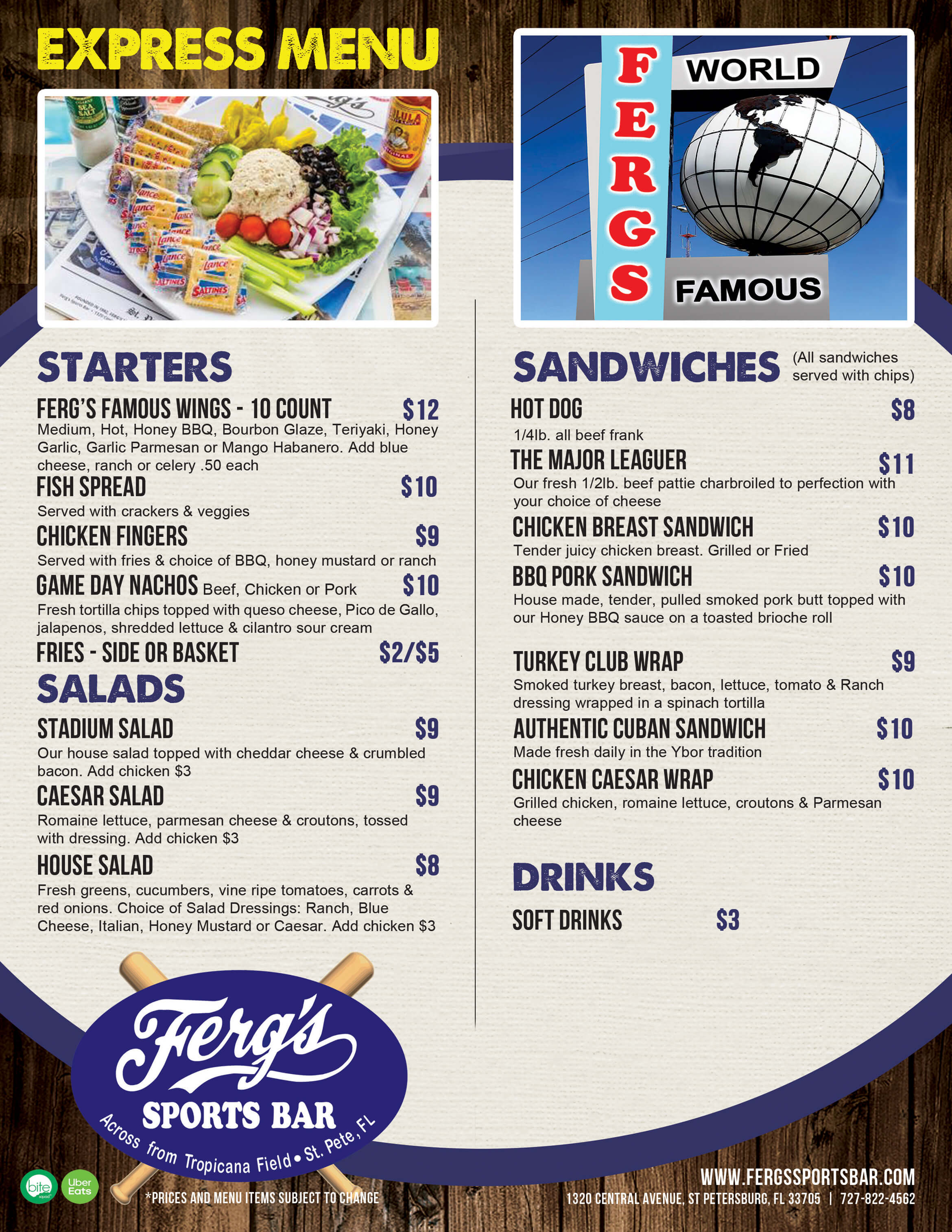 Express (Game Day) Menu