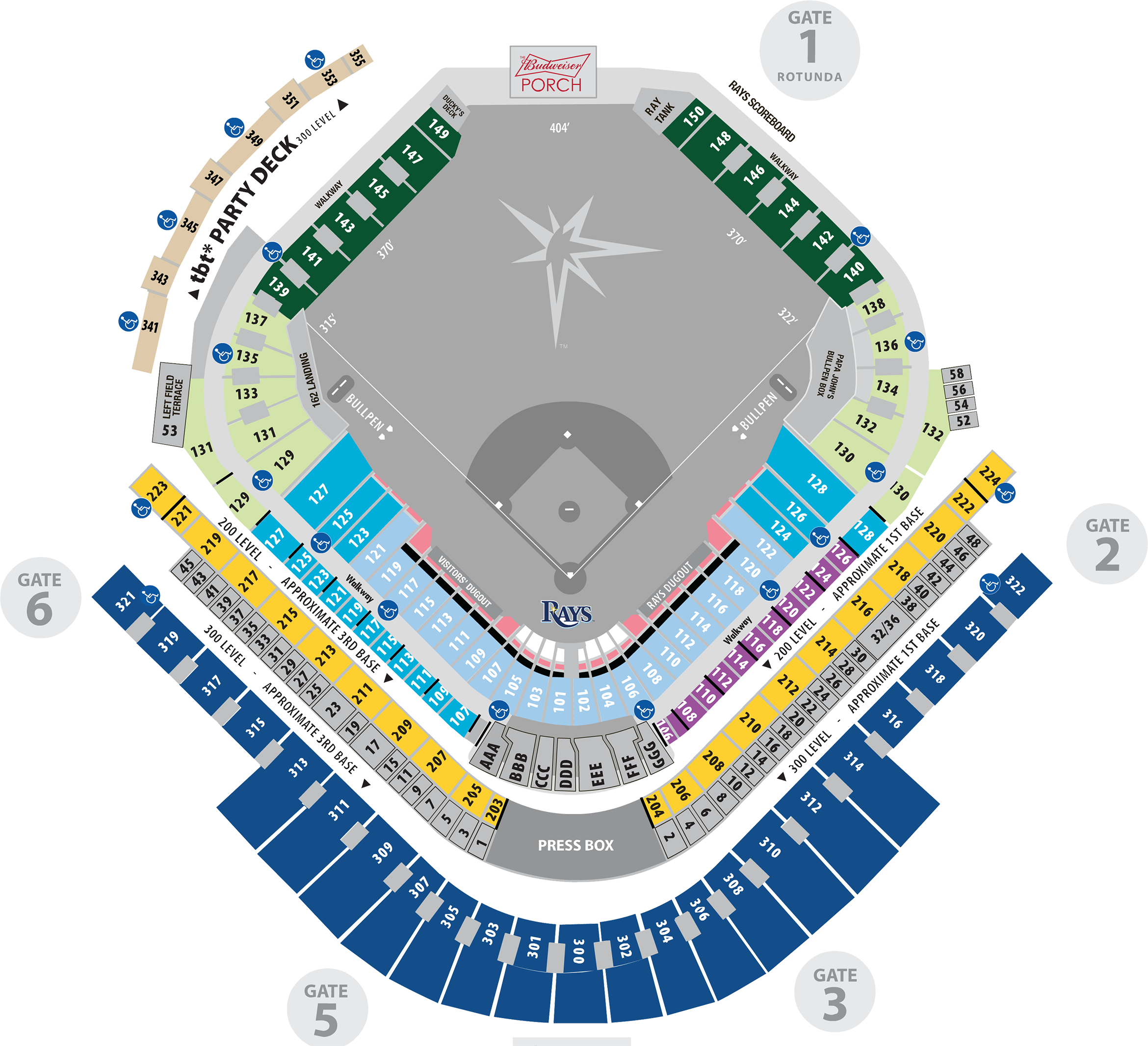 View Interactive Map of Tropicana Field